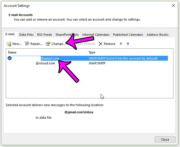 editing a gmail password through outlook 2013 - step 3