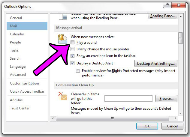 how to turn off the new email sound in outlook 2013