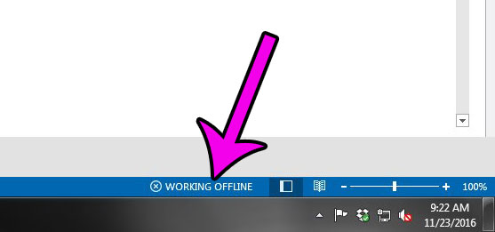 working offline status in outlook 2013
