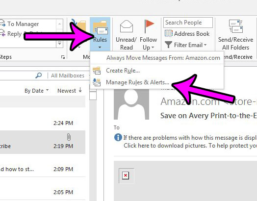 how to stop applying a rule in outlook 2013