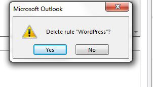 how to remove a rule in outlook 2013